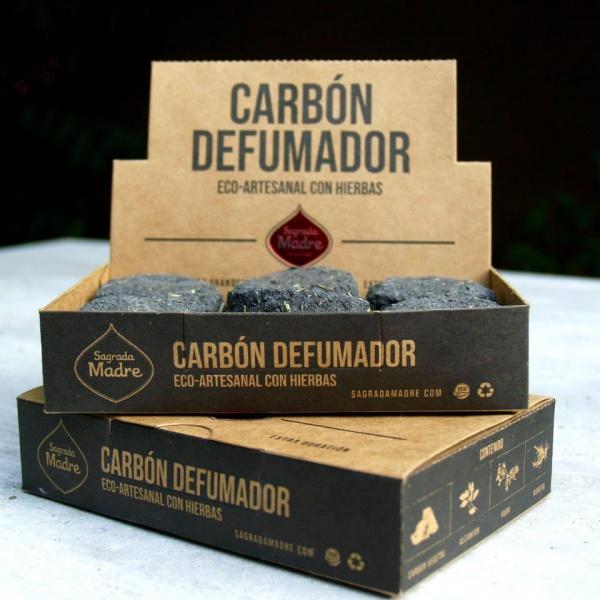 Carbón con Hierbas y Alcanfor Sagrada Madre Caja x 12