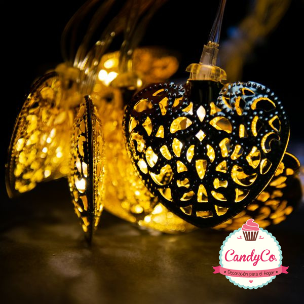 Luces Amarillas Cálidas con Corazones 1,8M a Pilas