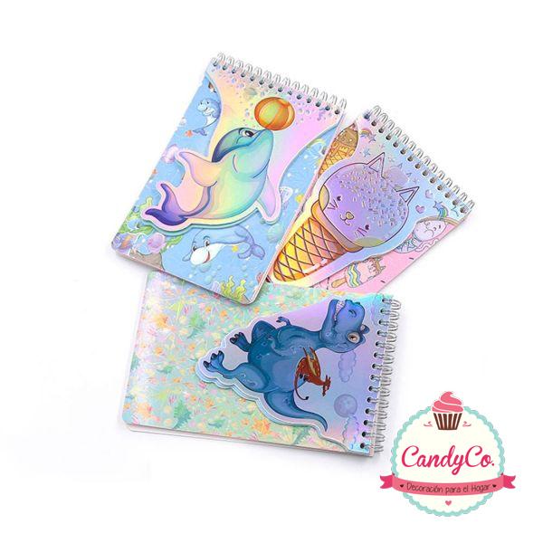 Libreta Anillada con Diseño de Delfín y Dinosaurio Tornasolado