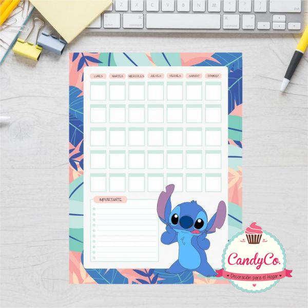 Pizarra Organizadora Mensual con Diseño de Stitch
