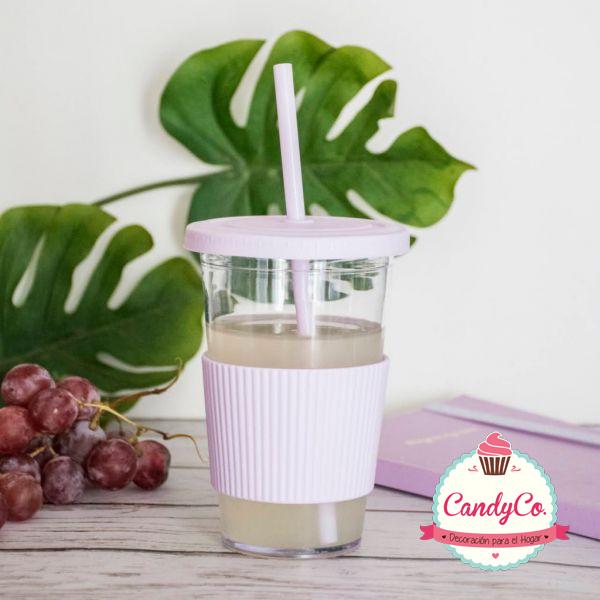 Vaso de Acrílico con Faja, Tapa y Sorbete Pastel