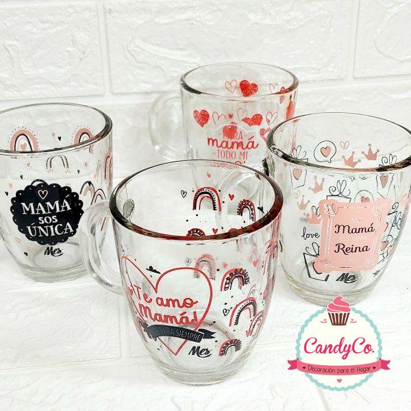Taza de Vidrio con Estampa del Día de la Madre